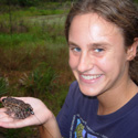 Betsy Roznik with radio-belted Gopher Frog