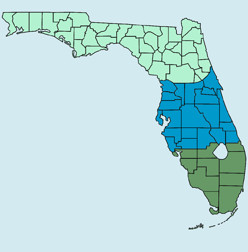 clickable map of Florida showing north, central, and south regions in different colors